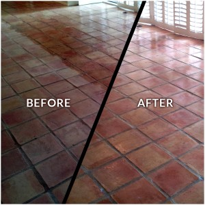 Before and After Saltillo Tile Restoration
